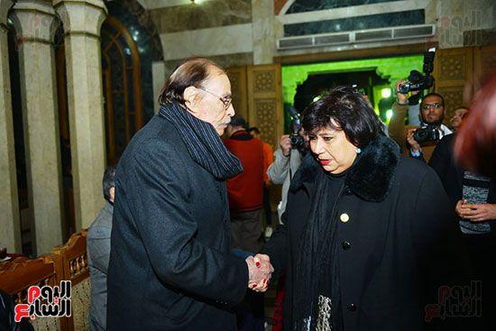وزيرة الثقافة فى عزاء لينين الرملى