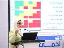 وزيرة الصحة هالة زايد خلال المؤتمر الصحفي للاعلان عن مستجدات كورونا - صورة أرشيفية