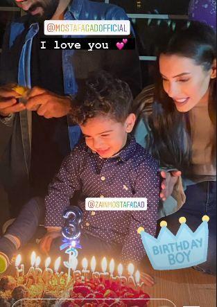 احتفال كارمن سليمان بعيد ميلاد ابنها