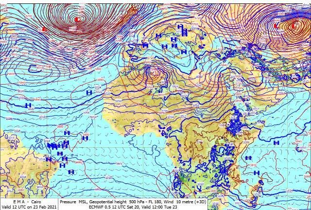 May be an image of map and text that says '117 MA Valid UTC Cairo Feb Pressure MSL, Geapotential height 500 Pa L 90, Wind 10 metre +3D) ECMWF 0.51 20, Valid 2:00 Tue 23'
