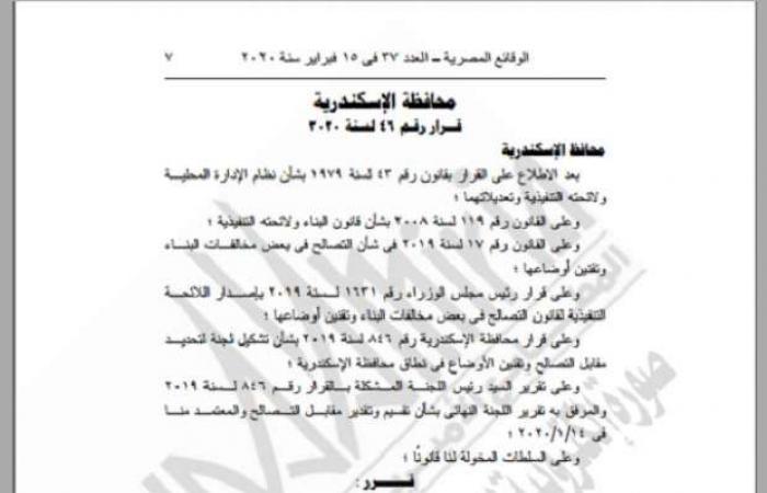 اخبار السياسه محافظة الإسكندرية تحدد قيمة التصالح في مخالفات البناء