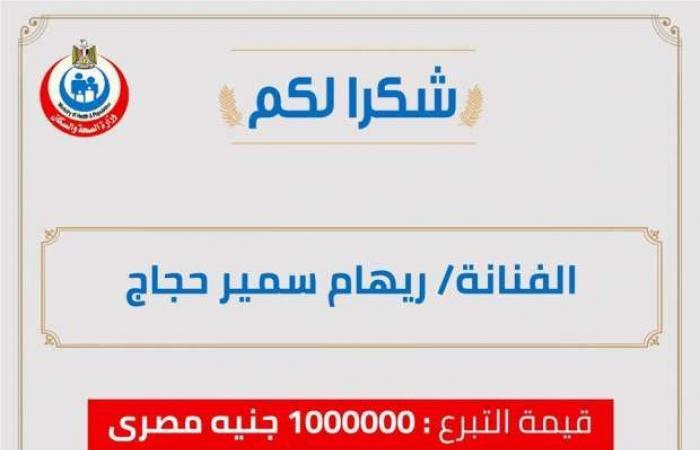 اخبار السياسه ريهام حجاج تتبرع بمليون جنيه لدعم مكافحة فيروس كورونا