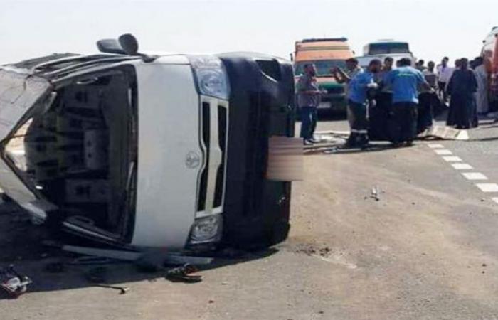 الوفد -الحوادث - إصابة 6 أشخاص في حادث انقلاب ميكروباص بسوهاج موجز نيوز