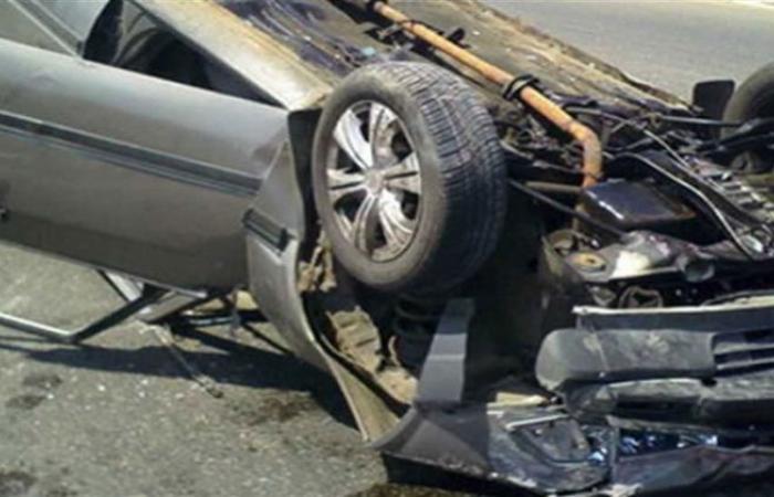الوفد -الحوادث - إصابة شخصين في حادث انقلاب سيارة بطريق مصر الإسماعيلية موجز نيوز