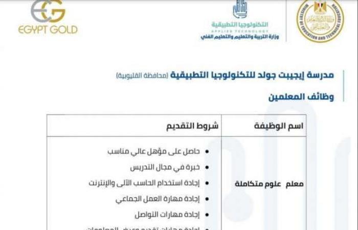 اخبار السياسه معلمون وإداريون.. شروط التقدم لوظائف مدارس التكنولوجيا التطبيقية
