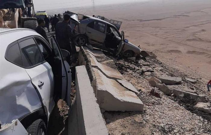 المصري اليوم - اخبار مصر- إصابة 7 أشخاص في تصادم سيارتين أجرة وملاكي على الطريق الزراعي بأسوان موجز نيوز