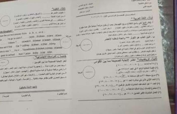 اخبار السياسه شكل الورقة الامتحانية المجمعة الرسمية للصف الرابع الابتدائي