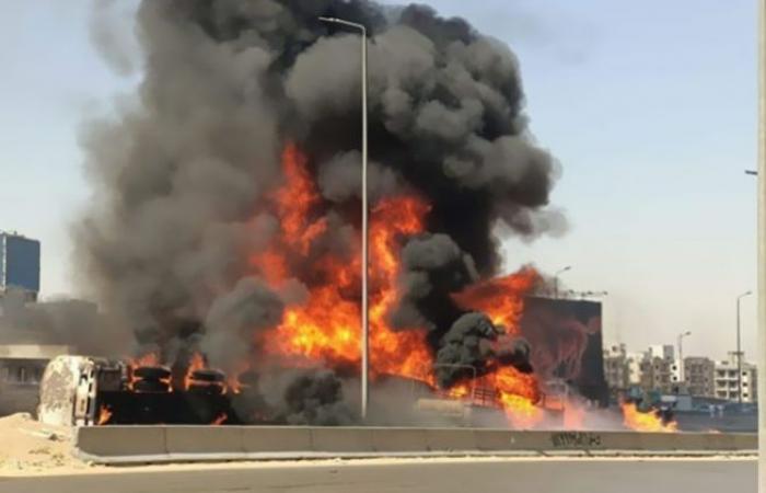 الوفد -الحوادث - (فيديو) يرصد لحظة اشتعال النيران وتفحم السيارات إثر حادث الدائري موجز نيوز