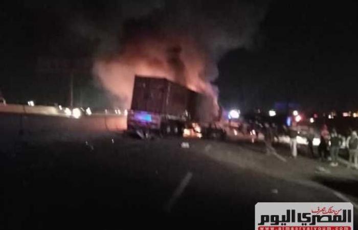 #المصري اليوم -#حوادث - أول صور من موقع حادث الدائري الأوسطي.. وانتشال جثتين متفحمتين و6 مصابين موجز نيوز