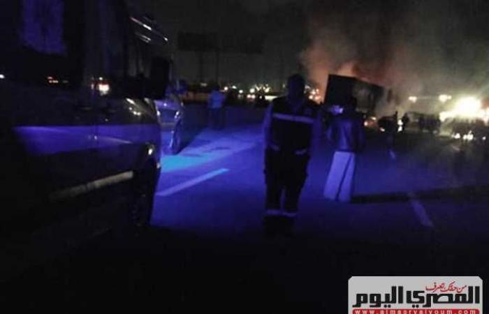 #المصري اليوم -#حوادث - حادث الطريق الدائري الأوسطي في حلوان وتفحم 6 سيارات (فيديو وصور) موجز نيوز