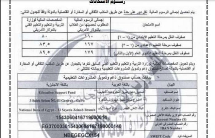 اخبار السياسه رسوم وجداول امتحانات أبنائنا في الخارج.. تبدأ من 160 دولار