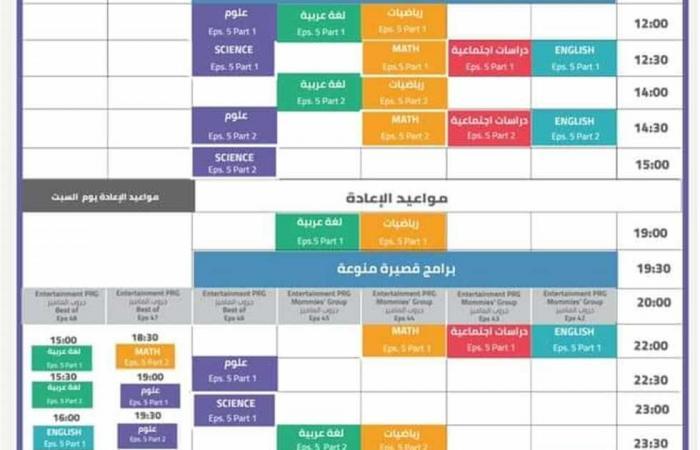 المصري اليوم - اخبار مصر- جداول حصص قناة مدرستنا من الصف الرابع الابتدائي إلى الثالث الإعدادي موجز نيوز