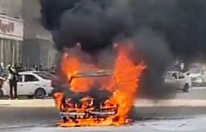 #اليوم السابع - #حوادث - السيطرة على حريق اندلع فى سيارة بطريق الواحات دون إصابات