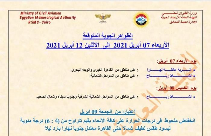 المصري اليوم - اخبار مصر- الأرصاد تحذر من التقلبات الجوية ..حالة الطقس من الأربعاء إلى الإثنين 12 أبريل موجز نيوز