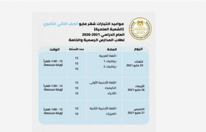 المصري اليوم - اخبار مصر- جدول امتحانات الصف الأول والثاني الثانوي وتحميل مفاهيم الاختبار (إبريل ومايو) موجز نيوز