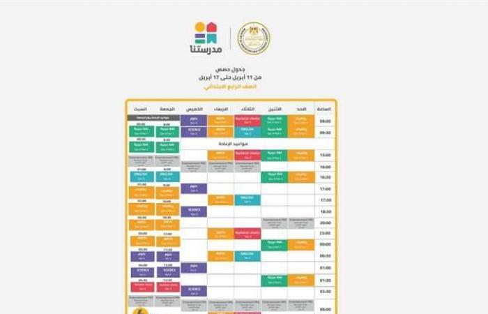 المصري اليوم - اخبار مصر- جدول برامج قناة مدرستنا التعليمية لطلاب المرحلة الابتدائية (الأسبوع 26) موجز نيوز