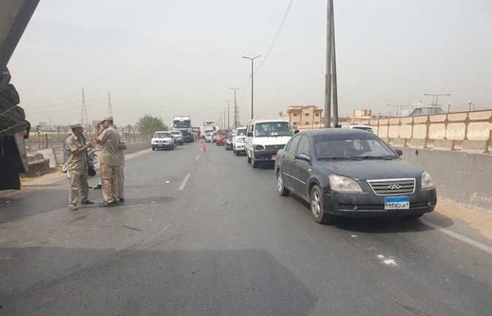 #المصري اليوم -#حوادث - شلل مرورى على طريق «بنها – المنصورة» وانقلاب سيارة نقل (صور) موجز نيوز