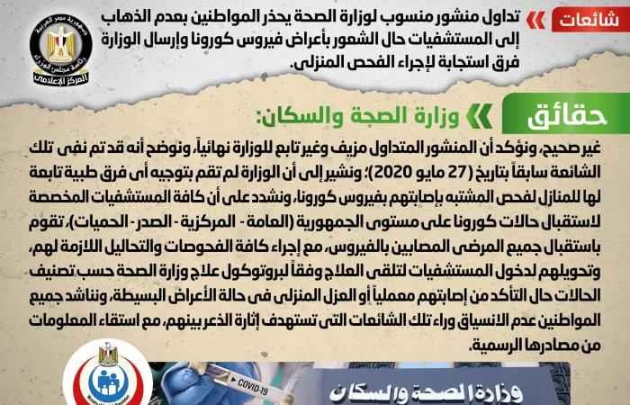 المصري اليوم - اخبار مصر- حقيقةتحذيرالمواطنين بعدم الذهاب إلى المستشفيات حال الشعور بأعراض فيروس كورونا موجز نيوز